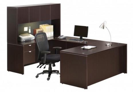 poste de travail ex cutif profil avec cr dence et huche bureaux mobiliers neuf. Black Bedroom Furniture Sets. Home Design Ideas