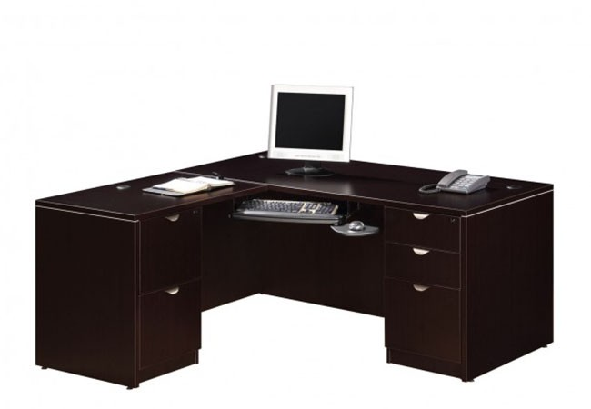 bureau retour classique avec choix de caissons simple ou. Black Bedroom Furniture Sets. Home Design Ideas