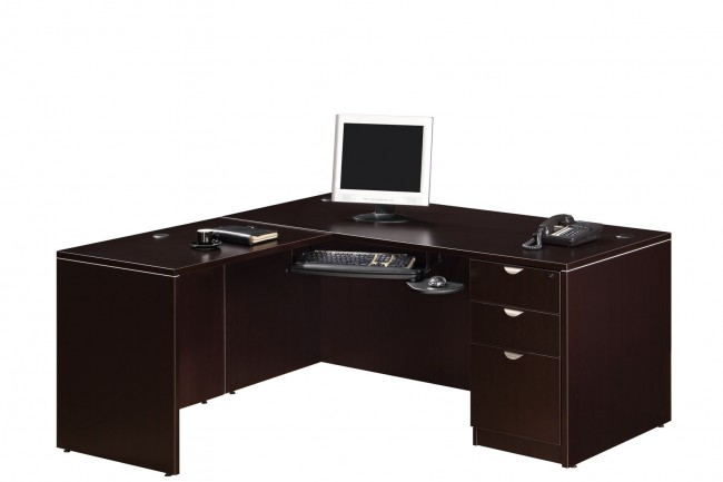 bureau retour classique avec choix de caissons simple ou double. Black Bedroom Furniture Sets. Home Design Ideas