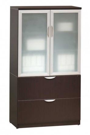 Combo cabinet de stockage avec portes en verre classique / classeur latéral